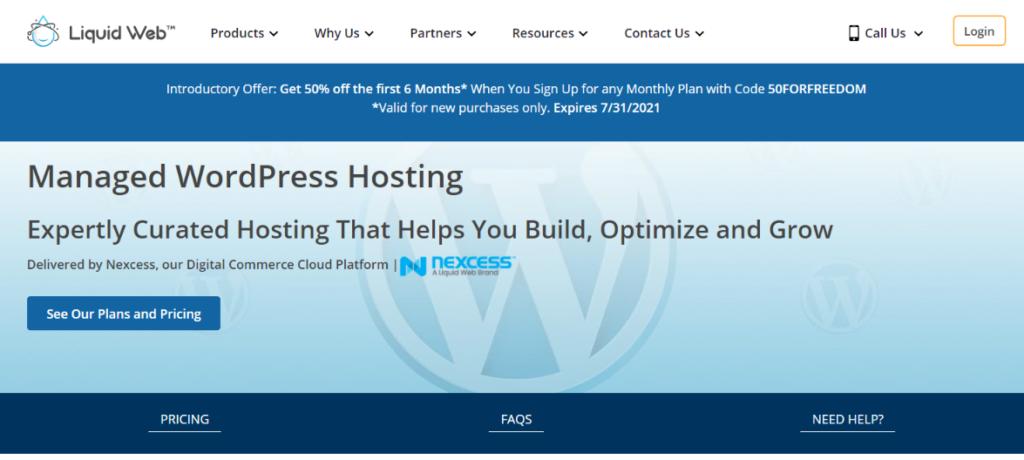 Liquid Web Managed WordPress Hosting Homepage Blogamigo