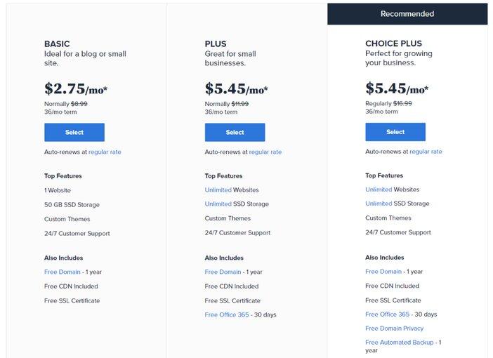 Bluehost WordPress Hosting Plan Blogamigo