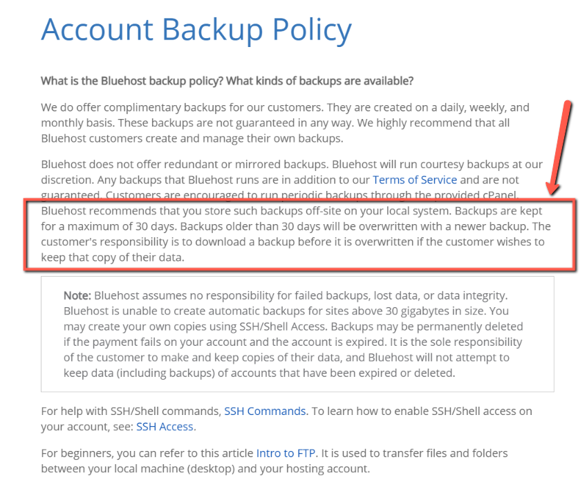 Bluehost Bachup Policy