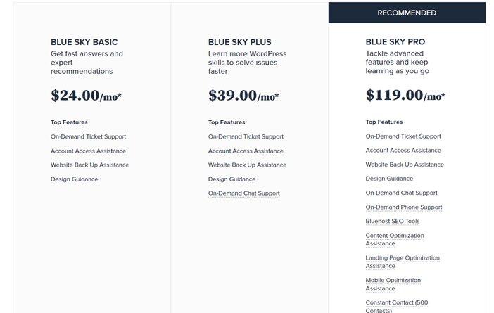 Bluehost Blu-Sky Pricing