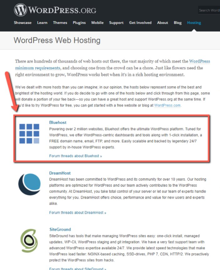 Bluehost Endorsed by WordPress