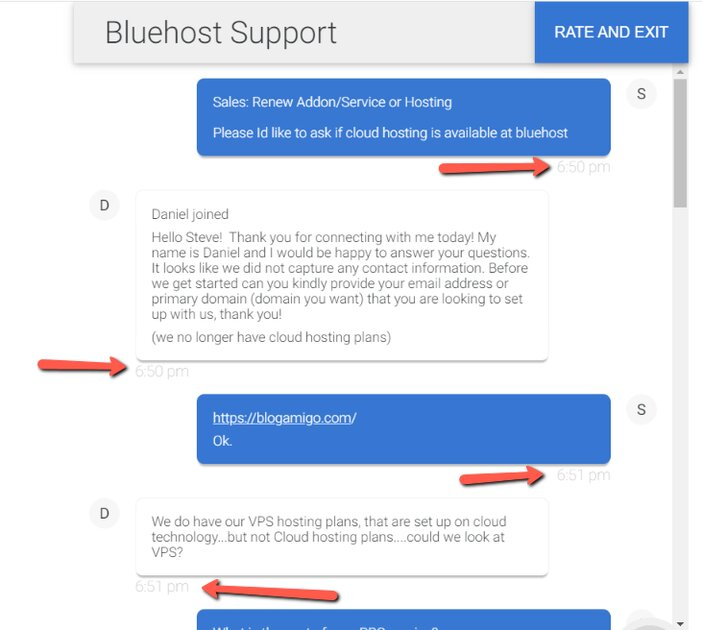 Bluehost Support Response