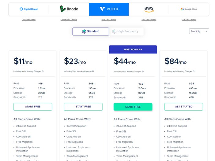 Cloudways Hosting Pricing Plan For Vultr Data Center