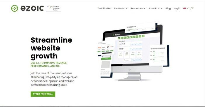 Ezoic homepage