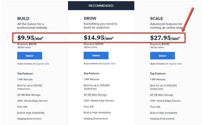 Managed WordPress Hosting Pricing from Bluehost Blogamigo
