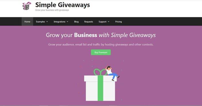 Simple Giveaway homepage