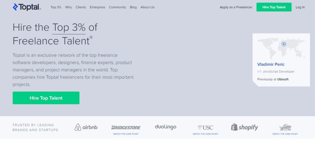 Toptal image | Best Freelance Job Websites