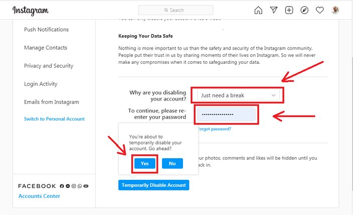 5. insert passwoed and click on disable account blogamigo