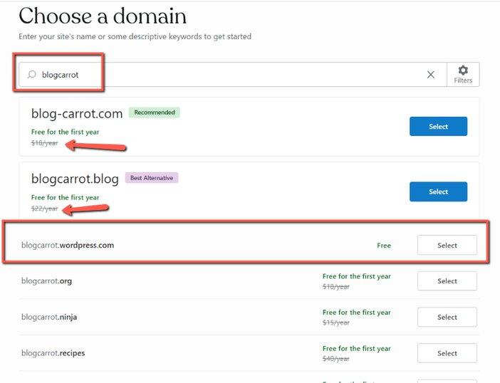 Available domains blogamigo