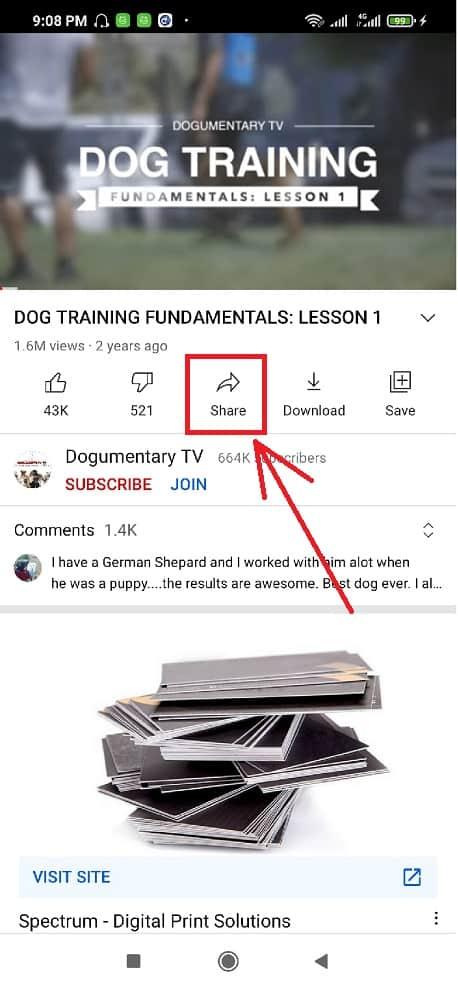 Click-The-Share-Icon-Seen-on-YouTube-App-Blogamigo