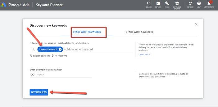Discover new keyword research in Google keywords planner blogamigo