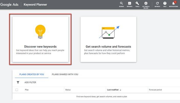Discover new keywords in Google keywords planner blogamigo