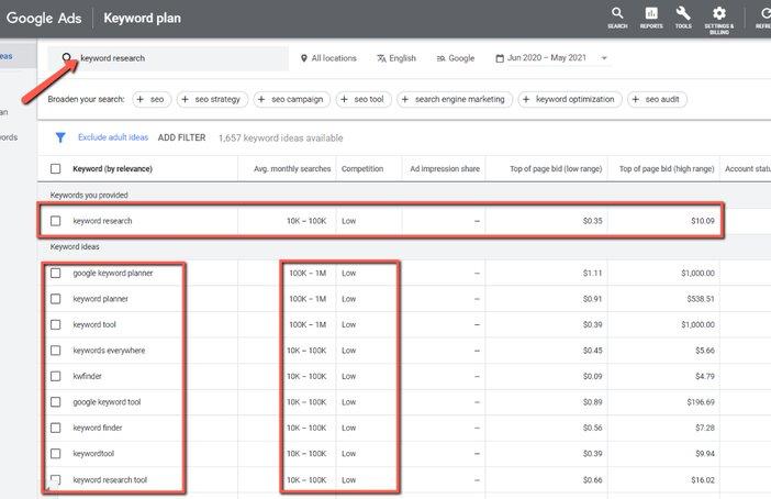 Google keyword planner search results blogomigo