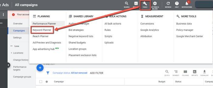 Locating Google keywords planner from adwords blogamigo