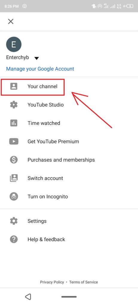 3. click on channel