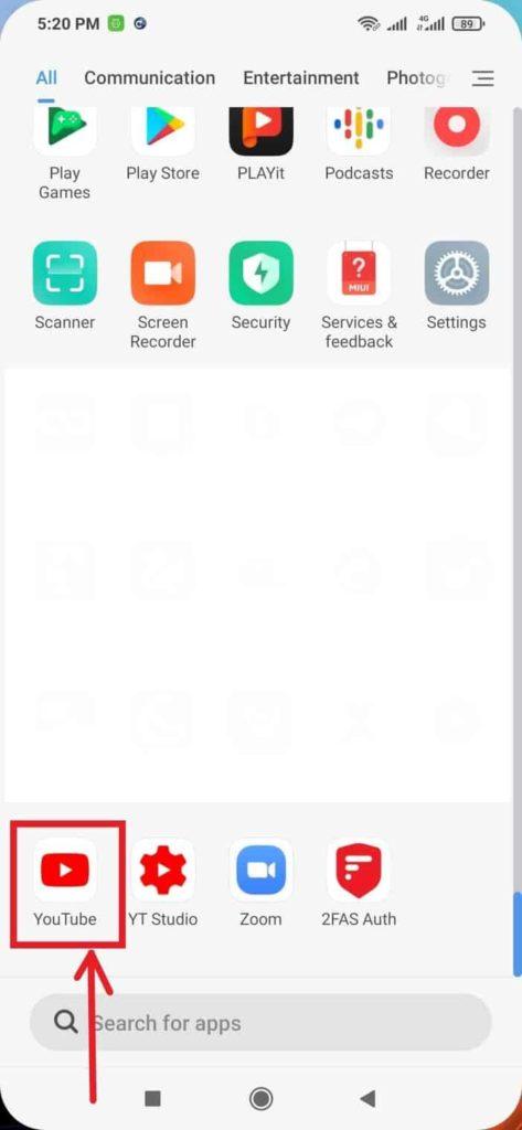 Select The YouTube App Button Blogamigo