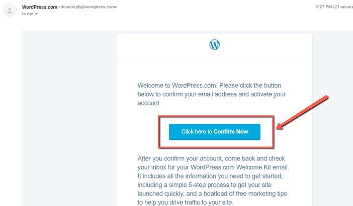 WordPress.com confirmation email blogamigo